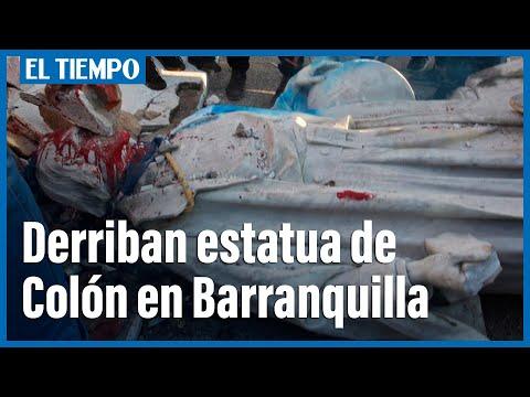 Una turba derriba una estatua de Cristóbal Colón en Barranquilla