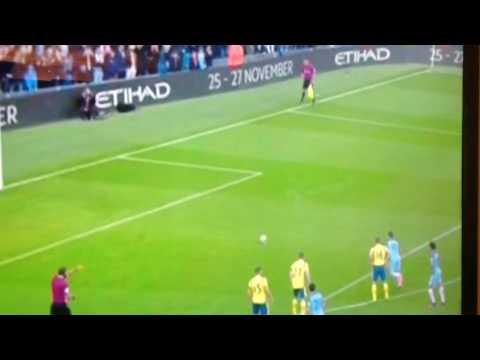 Manchester City 1-1 Everton,pen miss aguero