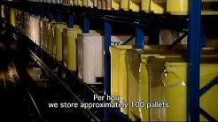 Cold storage automated warehouse with AGV's for frozen fish at Euro-Baltic by Dematic NV