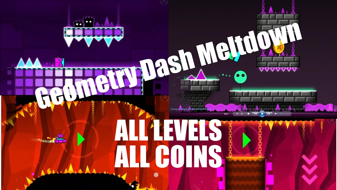 GEOMETRY DASH MELTDOWN - All Levels with All Coins