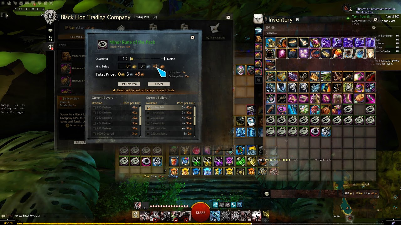 GW2 example of trading post bots instantly buying things I list
