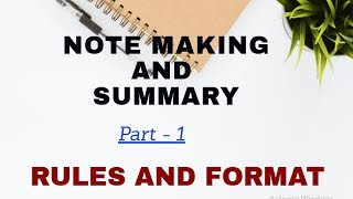 NOTE MAKING AND SUMMARY // FORMAT AND IMPORTANT RULES // Easy Learning With Himaal