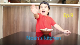 Noah making Lebanese Hummus Fatteh! تحضير فتة الحمص اللبنانية مع الطفل نواه