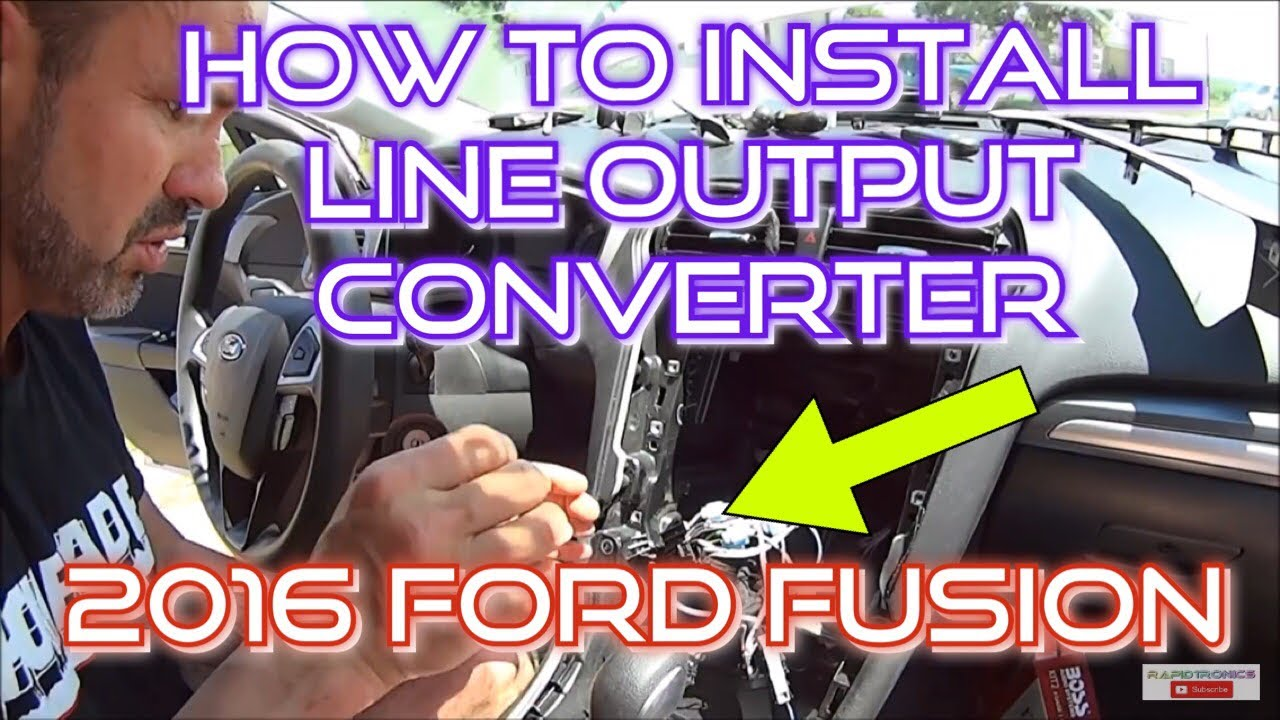 how to install a line output converter sub amp in a 2016 ford fusion se with a factory stereo [ 1280 x 720 Pixel ]
