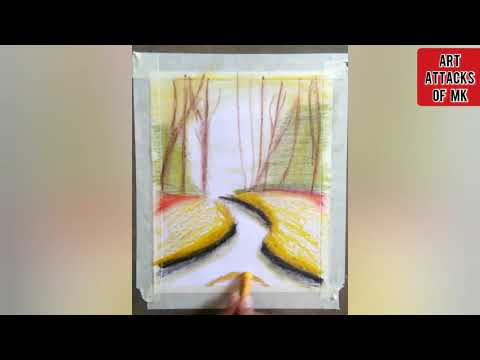 A beautiful landscape scenery with oil pastels.