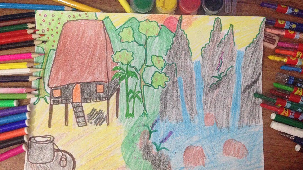 dạy bé vẽ tranh – vẽ tranh phong cảnh miền núi đơn giản – vẽ tranh đề tài miền núi