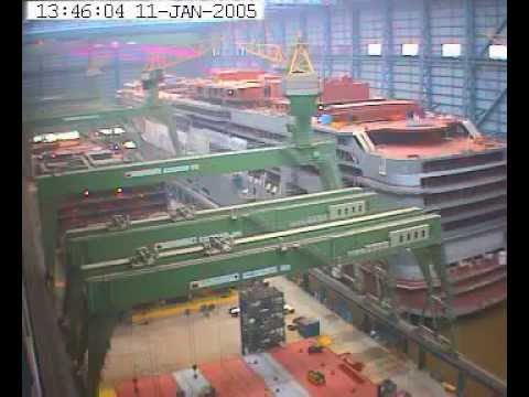 Papenburg, Germany - Time lapse of the construction of four NCL cruise ships. (2004-2007)