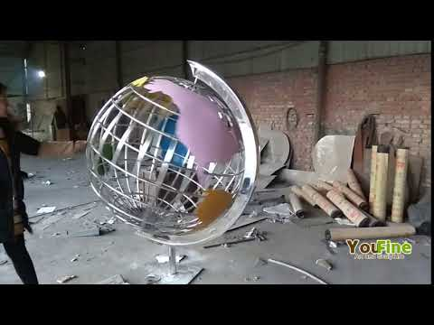 outdoor stainless steel world globe metal sculpture for school project