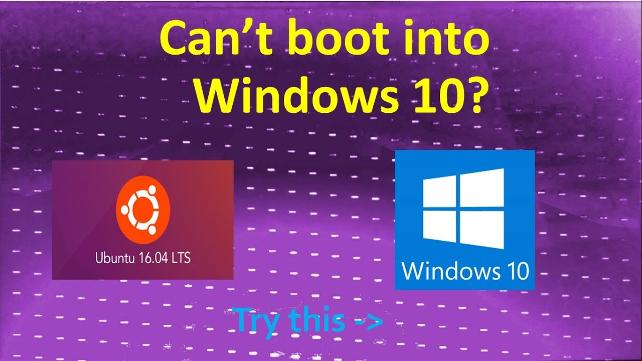 Can't boot into Windows 10? - Stuck at purple boot screen with diagonal  broken lines||by Gangadhar S