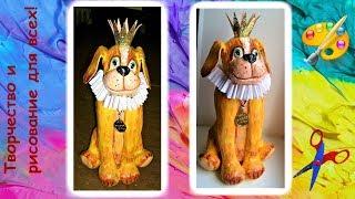 как сделать собаку из папье маше и декор бутылки Creativity & Art of Olga Mishina