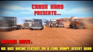 BeamNG Drive - Big Rigs Racing Flatout On A Long Bumpy Desert Road