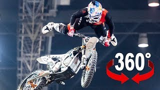 Stunt ride with electric motocross in 360°