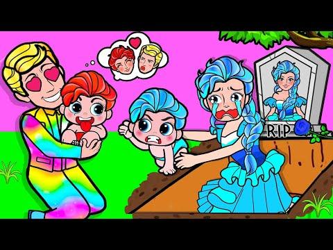Paper Dolls Dress Up - Daughter Elsa Frozen And Fire Mother Poor Dress - Barbie Story U0026 Crafts