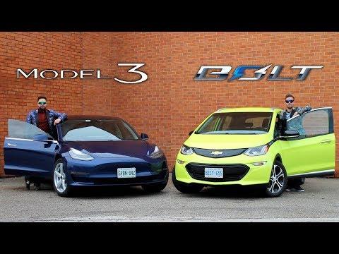Tesla Model 3 vs Chevrolet Bolt // Electric Face-Off