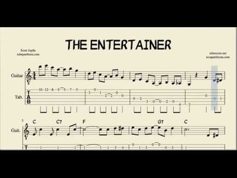 The Entertainer in C Major Tabs Sheet Music for Guitar with Chords