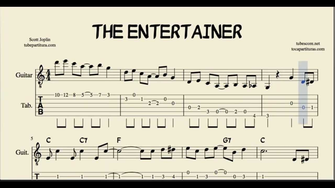 the entertainer in c major tabs sheet music for guitar with chords youtube. Black Bedroom Furniture Sets. Home Design Ideas