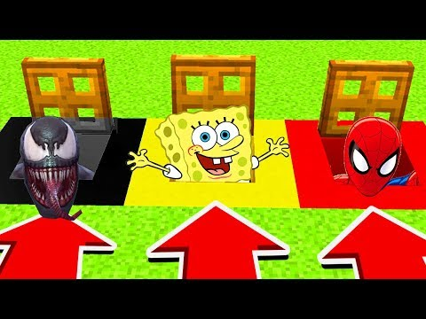 Minecraft : Do Not CHOOSE THE WRONG TRAPDOOR!(Venom,Spongebob,Spiderman) (PS4/XboxOne/PE/MCPE)