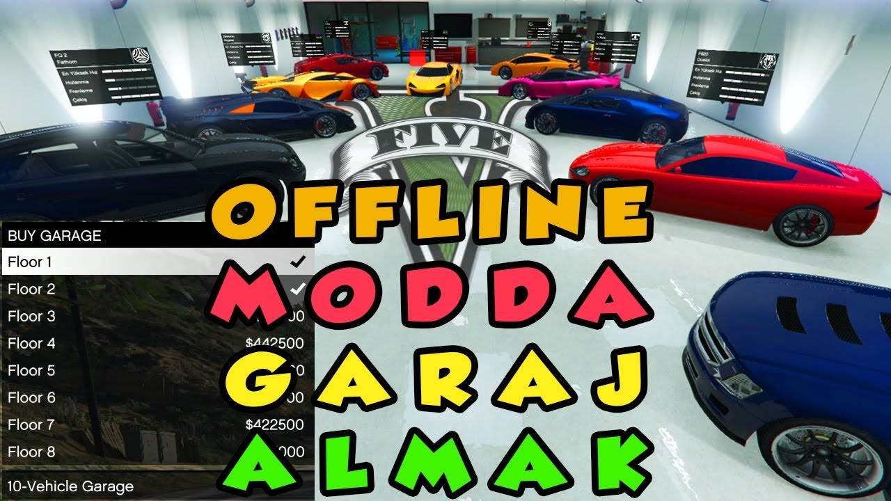 GTA V Offline  Garaj Modu-  Single player da garaj aldım