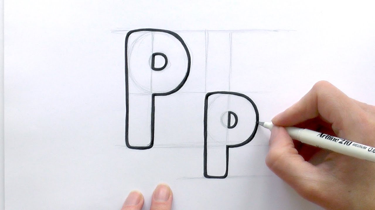 How To Draw A Cartoon Letter P And