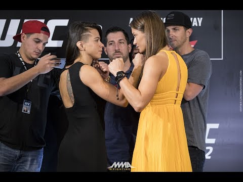 Claudia Gadelha vs. Karolina Kowalkiewicz UFC 212 Media Day Staredown - MMA Fighting
