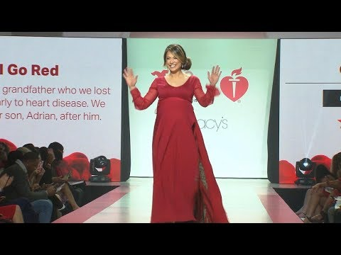 Pregnant Ginger Zee walks the runway to support heart health