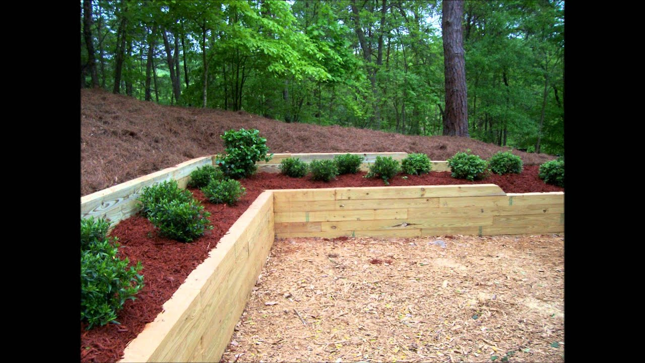 bennett landscape inc treated timber retaining wall planting before after pictures youtube - Timber Retaining Wall Design