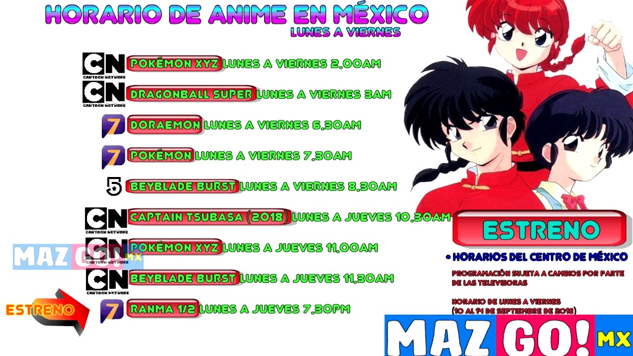 Estreno ranma 1 2 en tv azteca horarios anime 10 al 14 septiembre en méxico