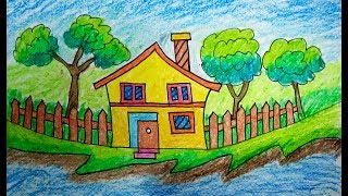 How to draw Scenery, Scenery of house, drawing for beginners, Coloring Pages VIDEO FOR KIDS