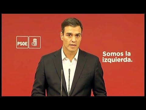 PEDRO SANCHEZ (PSOE) - Rueda de prensa REFERENDUM CATALUÑA (01/10/2017)