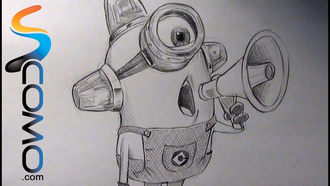 how to draw a cartoon purple minion