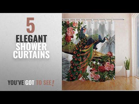 Top 10 Elegant Shower Curtains [2018]: NYMB Birds Decor Elegant Peacock in Peony Flower Shower