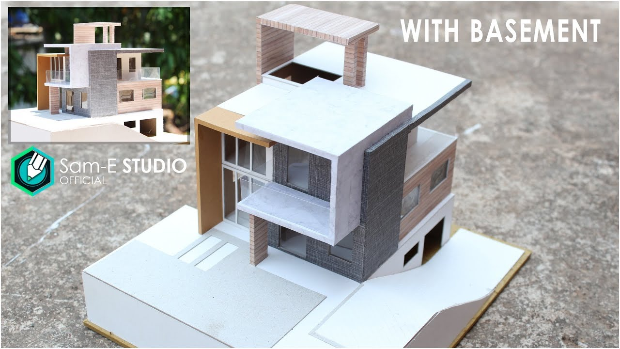 Model of a modern residential building with basement
