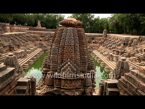 Modhera Sun Temple in Gujarat, with intricate step-well architecture