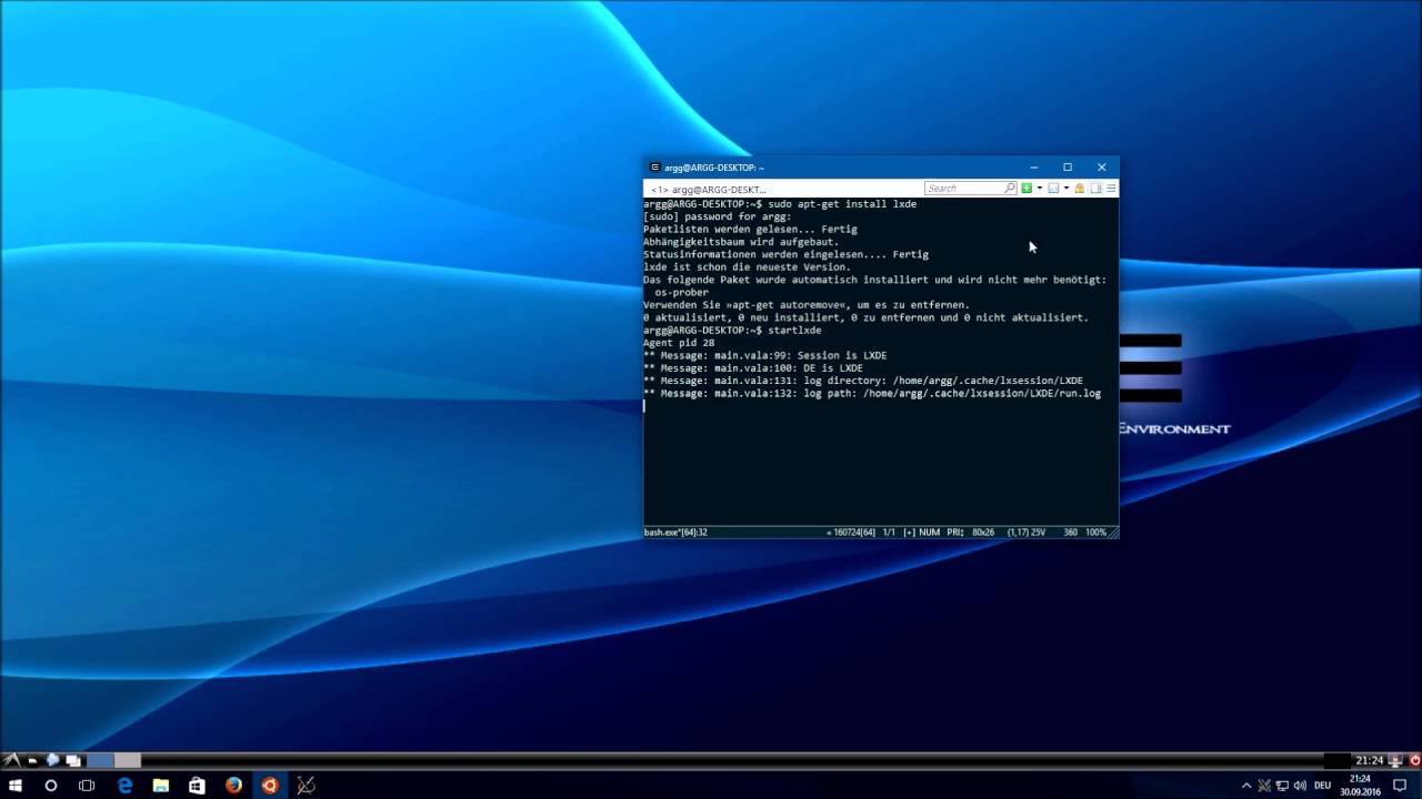 Windows subsystem for Linux with graphical user interface (GUI) support