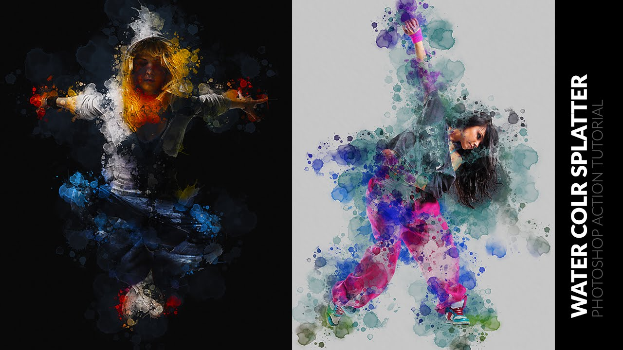 Water Color Splatter Photoshop Action Tutorial Youtube