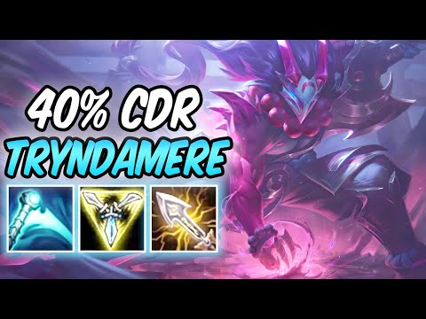 S+ 1v9 BLOOD MOON TRYNDAMERE TOP 100% CRIT LETHAL TEMPO | 40% CDR Build & Runes | League of Legends