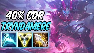 S+ 1v9 BLOOD MOON TRYNDAMERE TOP 100% CRIT LETHAL TEMPO   40% CDR Build & Runes   League of Legends