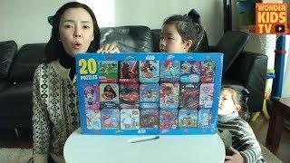 디즈니퍼즐이 도착했어요! 퍼즐 맞추기 대결 재이 vs지수 퍼즐놀이 disney puzzle 퍼즐맞추기 puzzles