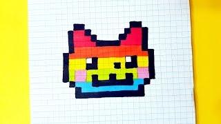 ВАУ!РАДУЖНЫЙ НЯН КЭТ рисуем по клеточкам (Nyan Cat)PIXEL ART