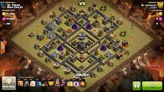 Clash of Clans TH9 vs TH9 Giant, Healer & Hog Rider (GiHeHo) Clan War 3 Star Attack