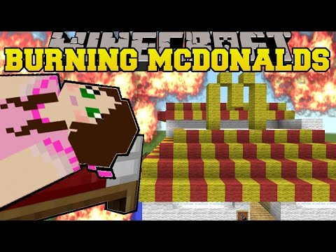 Minecraft: BURNING MCDONALDS! (TRAPPED IN A FAST FOOD RESTAURANT!) Mini-Game
