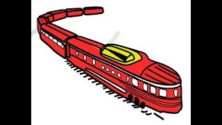 How to draw a Train। Train Painting for kids। Train Coloring। Learn Color