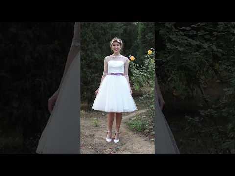 a-line-wedding-dress-see-through-tea-length-bateau-tulle-/by-lightinthebox