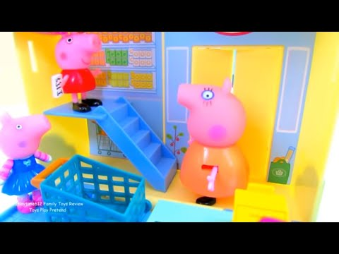 Peppa Pig Grocery Store Playset Checkout Fun with Hello Kitty | itsplaytime612