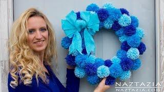 DIY Tutorial - How to Make Easy Simple Beginner Yarn Pom Pom Wreath - Pompom Pompoms