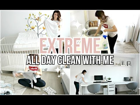 EXTREME ALL DAY CLEAN WITH ME | REALISTIC CLEANING MOTIVATION 2019 | Daily Cleaning Routine of a Mom