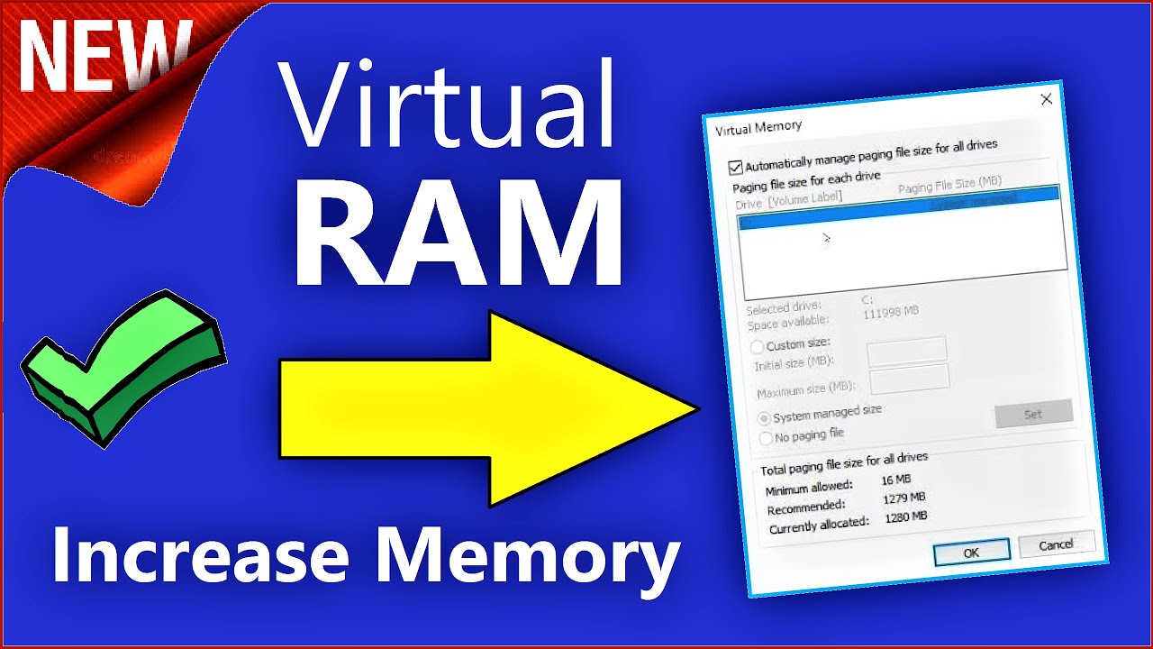 Virtual Ram Windows 10 How To Increase Virtual Memory Windows 10 Increase Ram In Windows 10 Youtube