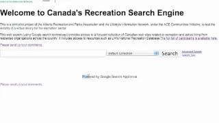 Canada's Recreation Search Engine