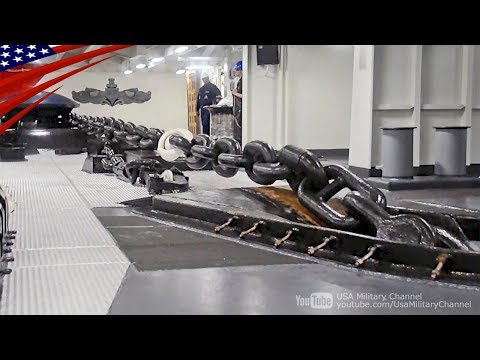 【鎖が超でかい】10万トン級の巨大空母の錨の投下と吊り上げ