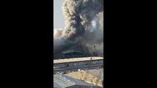 ما لم تشاهدونه من قبل عن تفجير بيروت .. أوضح فيديو يظهر انفجارين